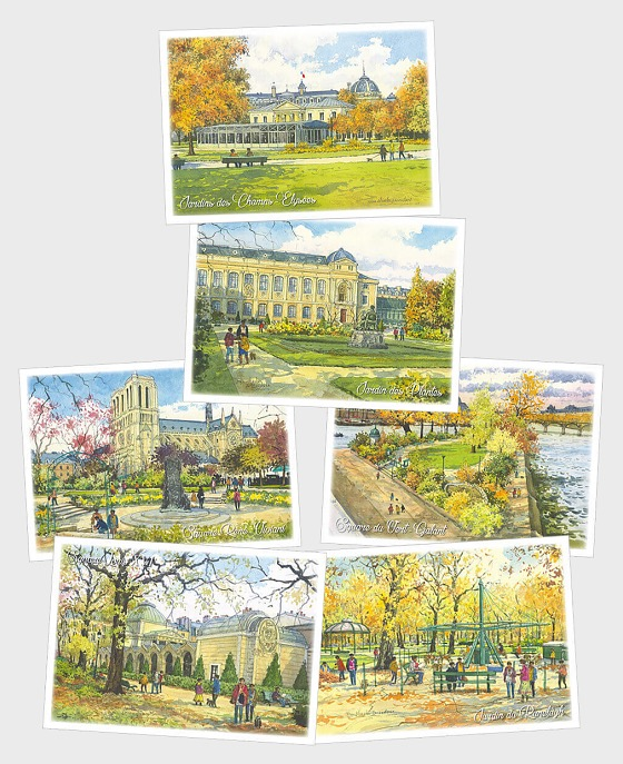 Winter - Squares and Gardens of Paris (Set of six postcards) - Postcard