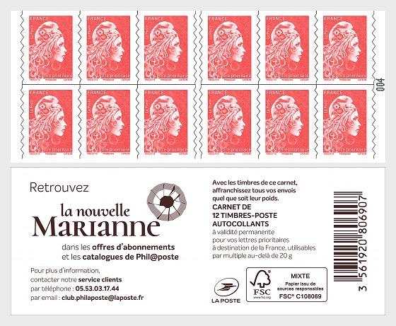 Marianne 2018 - Carta de prioridad 12 Sellos - Libro de Sellos