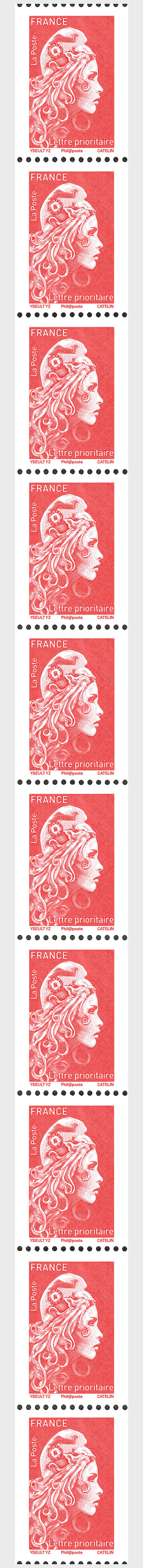 Marianne 2018 - Priority Letter (Single Stamp) - Coil Stamps