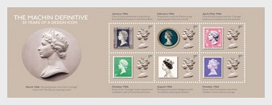 Machin Definitive Anniversary 50 Years of a Design Icon Stamp Sheet - Miniature Sheet