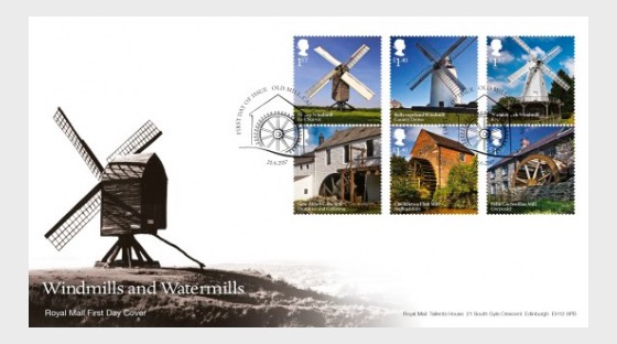 Windmills and Watermills - First Day Cover