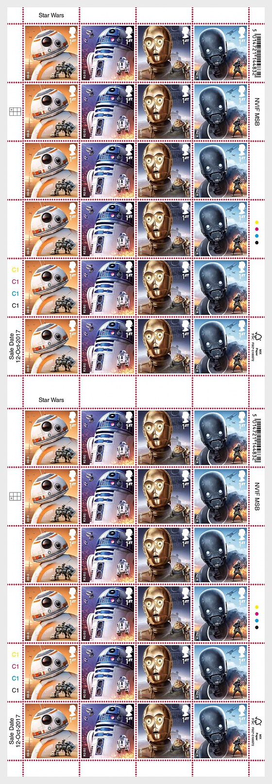 PRE ORDER Star Wars: The Last Jedi - Stamp Sheet - Droids (Full Sheet of 24) - Sheetlets