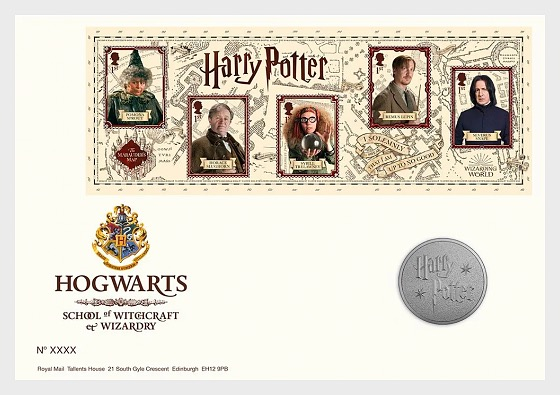 Harry Potter - Limited Edition Silver Proof Hogwarts Medal Cover - Medal Cover