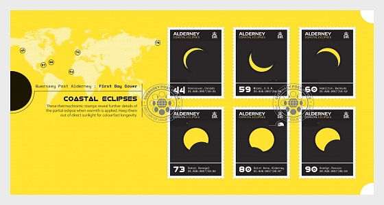 Alderney Coastal Eclipses (FDC-S) - First Day Cover