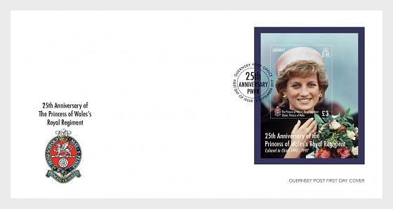 25 Years of The Princess of Wales's Royal Regiment (FDC M/S) - First Day Cover
