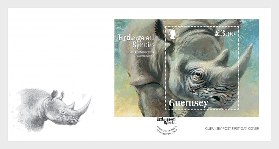 Endangered Species - The Black Rhinoceros - First Day Cover