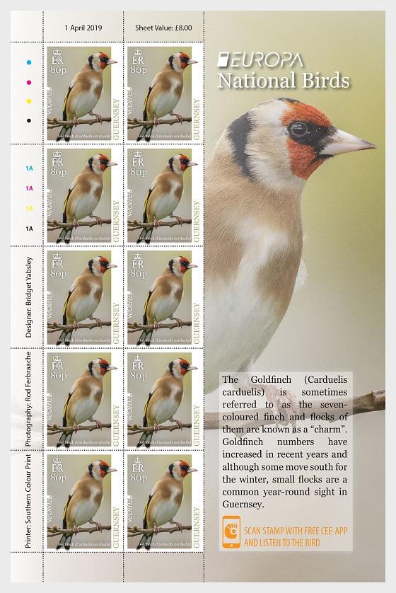 Europa 2019 - National Birds - Sheets of 10 80p Europa Value - Collectibles