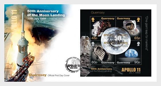 50ème Anniversaire du Débarquement de la Lune - Enveloppes de Premier Jour