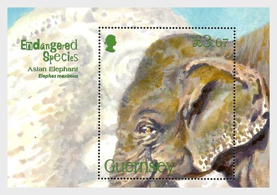 Endangered Species - Asian Elephant - Miniature Sheet