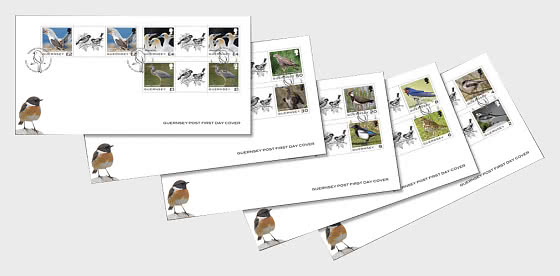 Guernsey Definitive - Birds - FDC Gutter Pairs - Collectibles