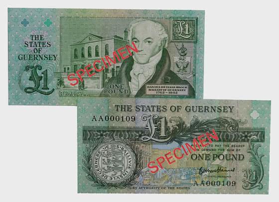 1 英镑 B.Haines 签名根西岛银行票据(AA 前缀) - 钞票