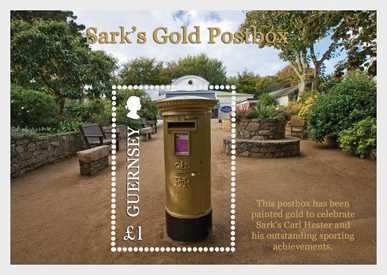 Sark's Gold Postbox - Miniature Sheet