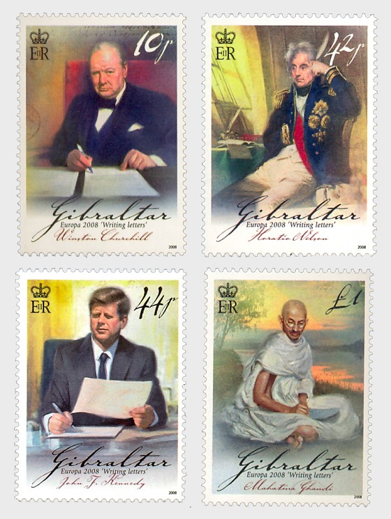 Europa 2008 - Letter writing (Churchill, Nelson, Kennedy, Gandhi) - Set