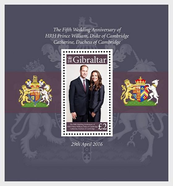 Quinto anniversario William e Kate - Foglietti