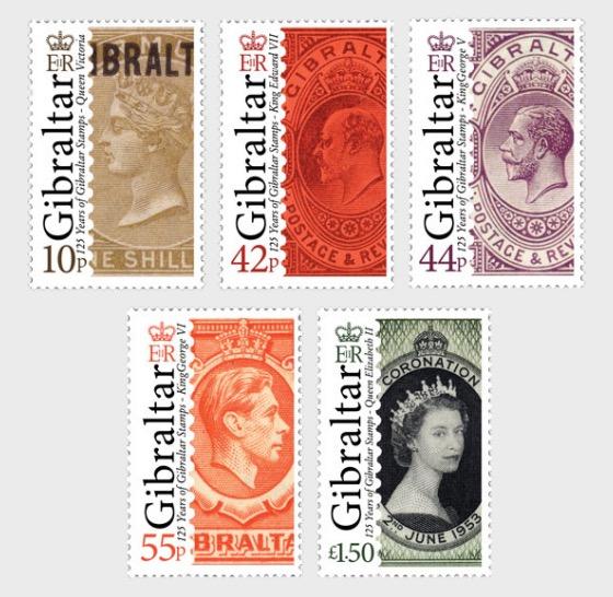 125th Ann of Gib Stamps - Set