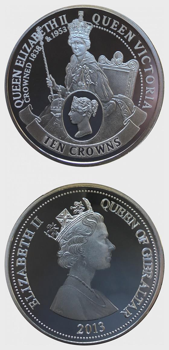 Coronation of Queen Elizabeth - William Wyon Ten Crowns - Silver Coin