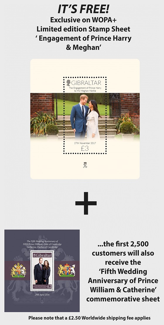 WOPA FREE Gift Prince Harry & 5th Ann Prince William (ONLY 1 PER PERSON) - Miniature Sheet
