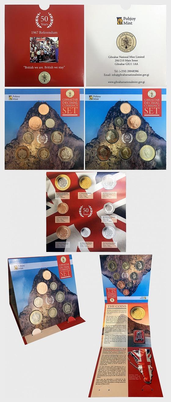 Gibraltar Decimal Currency Set - 1967 Referendum - Coin Year Set