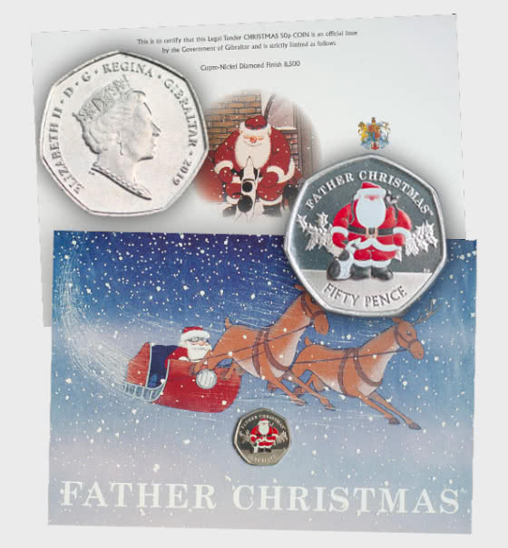 SOLD OUT - Christmas 2019 Coloured 50p Coin Card - Single Coin