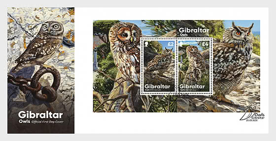 PRE-ORDER Gibraltar Owls - FDC M/S - First Day Cover