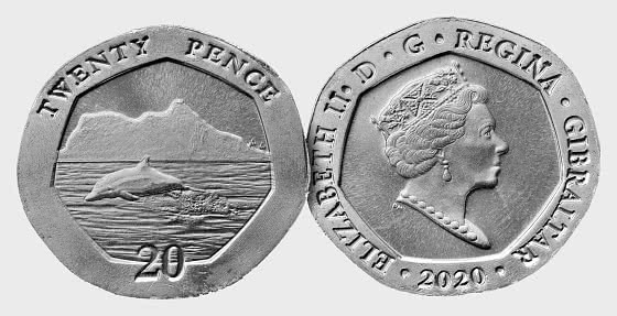 Gibraltar 2020 20p Dolphin Coin - Single Coin