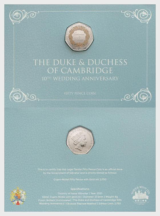 Limited Edition Catherine & William Coloured 50p Coin - Commemorative