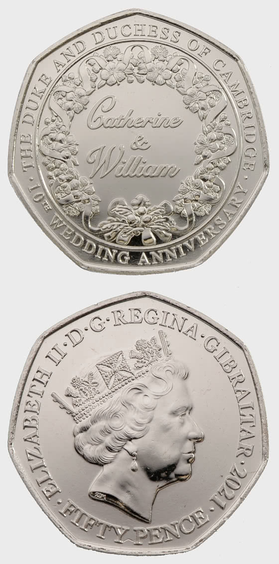 凯瑟琳和威廉 50 便士硬币 - 纪念品