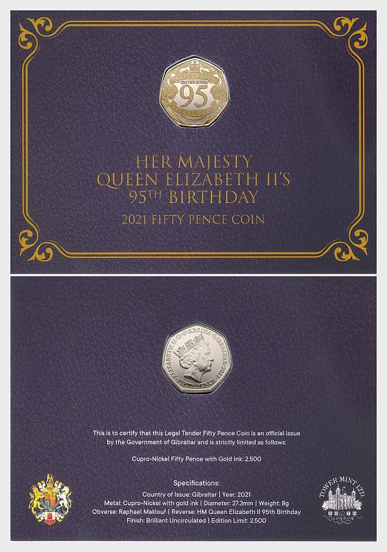Queen 95th Birthday LTD Coloured 50p Coin - Coin Card