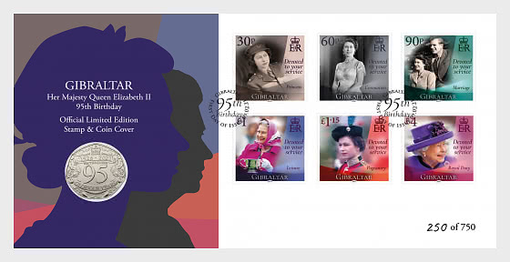 Queen 95th Birthday LTD Stamp & Coin Cover - Coin Card