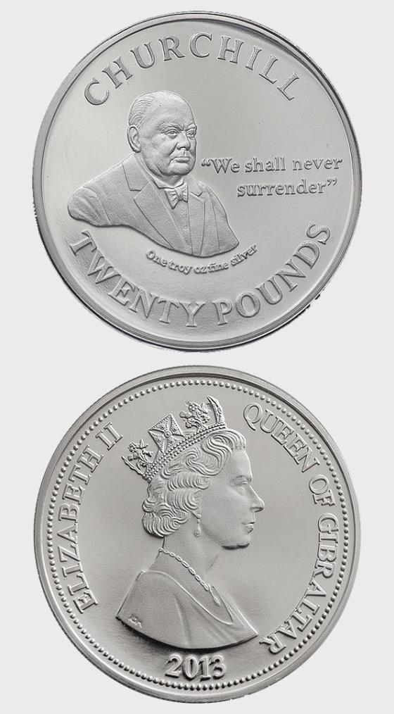 Churchill 'We Shall Never Surrender - Silver Coin