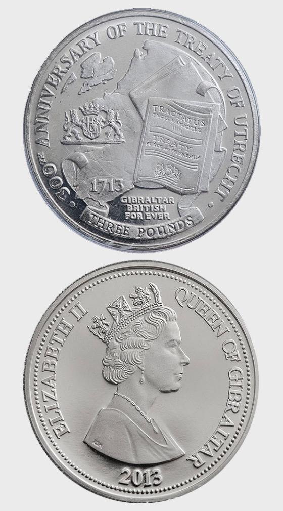 Treaty of Utrecht £3 coin - Single Coin