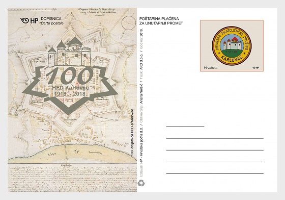 Postal - 100 Aniversario de la Sociedad Filatélica Karlovac - Postales