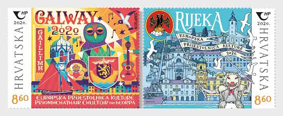 Emissione Congiunta - Repubblica Croazia-Repubblica D'Irlanda, Fiume e Galway, 2020 Capitali Europee della Cultura - Serie