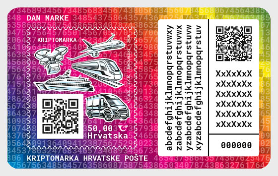Stempeltag - Kroatische Post-Krypto-Briefmarke - Sonderblock