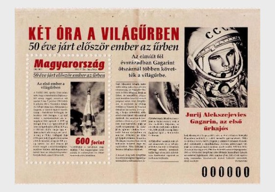 Primo uomo Viaggiato nello Spazio 50 Anni Fa - Foglietti
