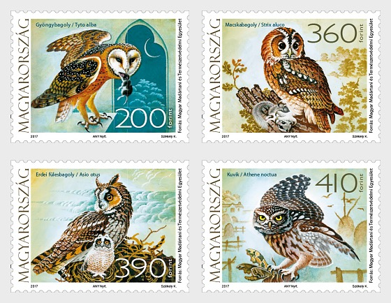Fauna Of Hungary - Owls - Set