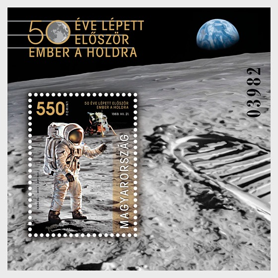 Man Landed on the Moon 50 Years Ago - Perforated M/S Black Number - Miniature Sheet