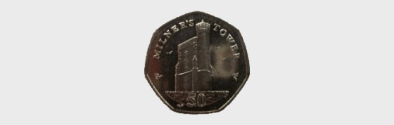 Various Dates - Isle of Man - Milner's Tower 50p Coin - Circulated - Single Coin