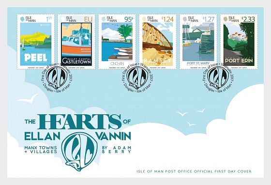 The Hearts of Ellan Vannin - Manx Towns and Villages - First Day Cover