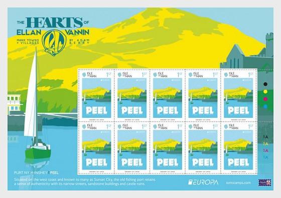 The Hearts of Ellan Vannin Europa Sheet Peel 1st - Sheetlets CTO