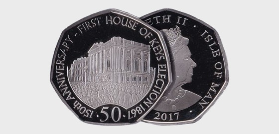 House of Keys 50p in Wallet - Single Coin