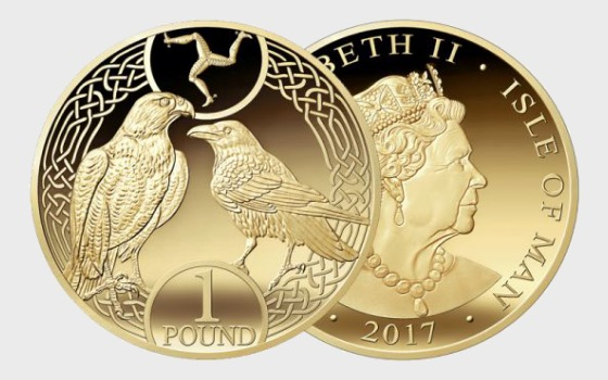 One Pound - Raven and Falcon 2017 Decimal Coin in wallet - Single Coin