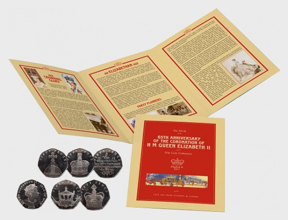 65th Anniversary of the Coronation of H M Queen Elizabeth II 50 pence Coin Set - Commemorative