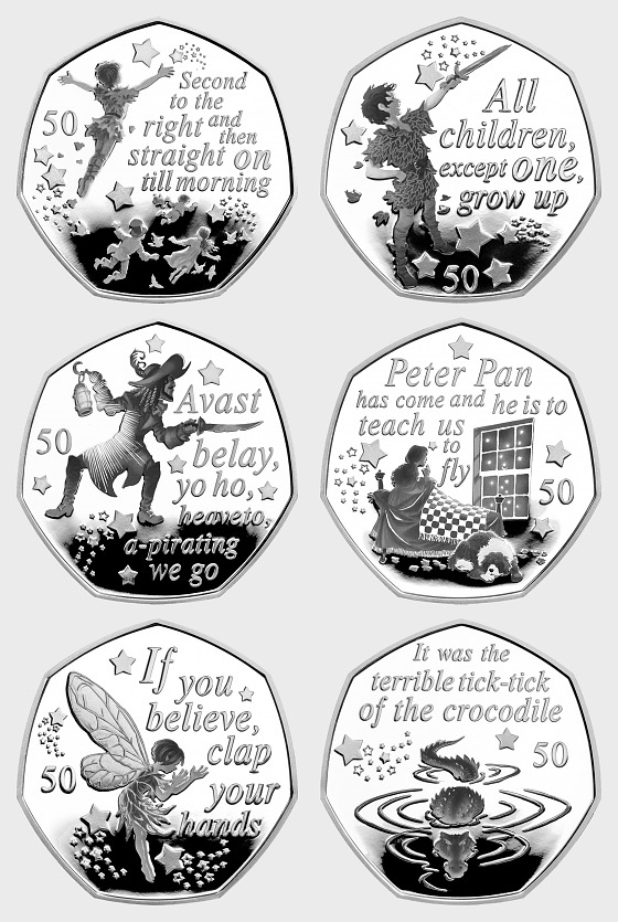 Circulating Quality Peter Pan Six 50 Pence Coin Collection - Commemorative