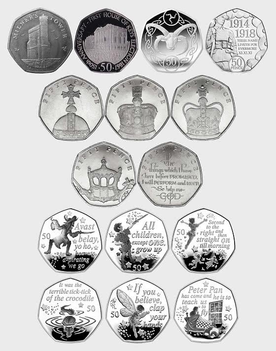 Sammlung von Isle of Man Fünfzig Pence-Stücke - Einzelne Münze