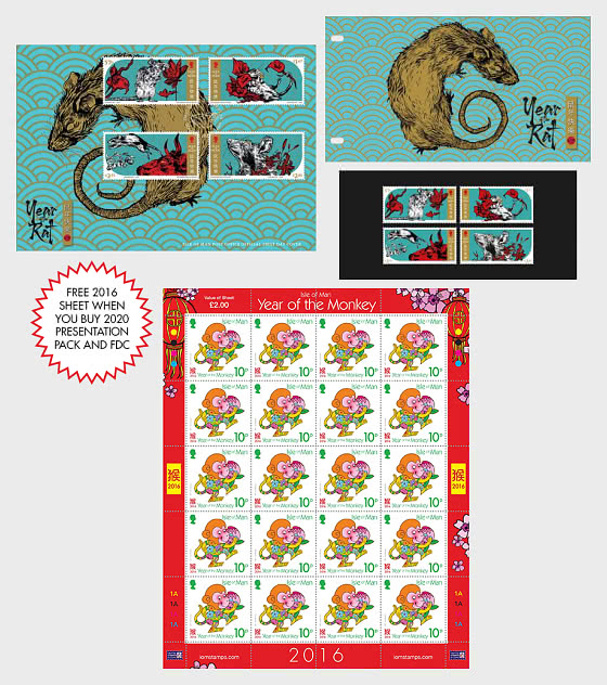 Lunar New Year Promotion - Buy Year of the Rat 2020 PP & FDC and get a free 2016 sheet - Collectibles