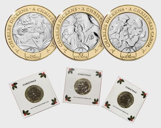 2020 Isle of Man 'Eine Weihnachtsgeschichte' Drei-Münzen-Sammlung - Gedenk