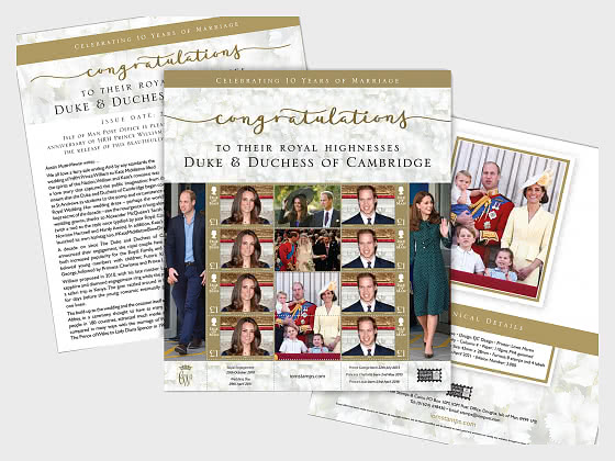 PRE - ORDER The Duke & Duchess of Cambridge 10th Wedding Anniversary Special Sheetlet - CTO - Sheetlets CTO