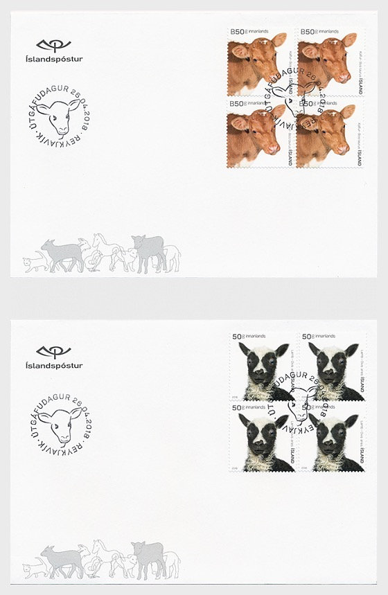 The Young of Iceland's Domestic Animals II - (FDC Block of 4) - First Day Cover block of 4