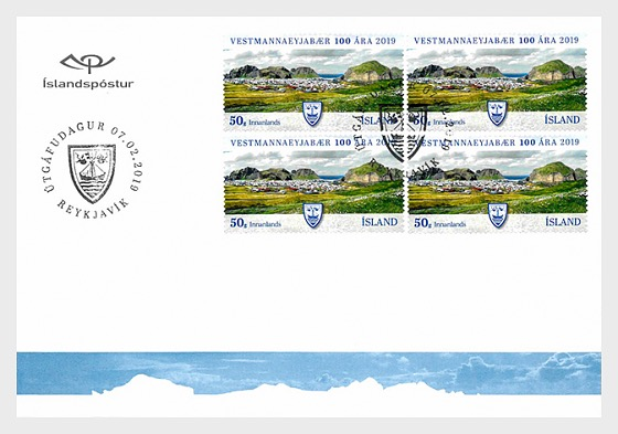 The Municipality of Vestmannaeyjar - 100th Anniversary - FDC Block of 4 - First Day Cover block of 4
